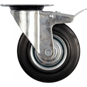 DOUBLE BRAKE SWIVEL CASTER WITH BLACK RU
