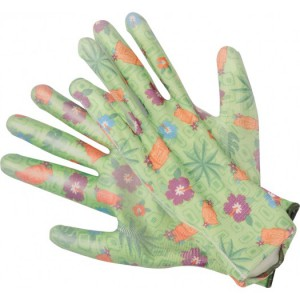 GARDEN POLYESTER GLOVES WITH PU PALM COA